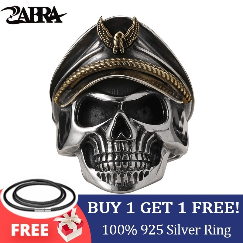 ZABRA 925 Srebrna II Wojna Światowa Żołnierz Rocznica Męskie Pierścionki Punk Rock Vintage Regulowany rozmiar Czaszka Ring Biker Men Biżuteria