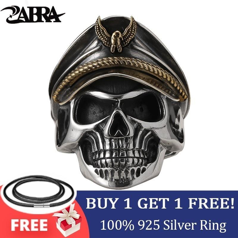 ЗАБРА 925 Сребрна Светска рата ИИ Војник Годишњица Мушки прстенови Пунк Роцк Винтаге подесива величина Скулл прстен Бикер Мушкарци накит
