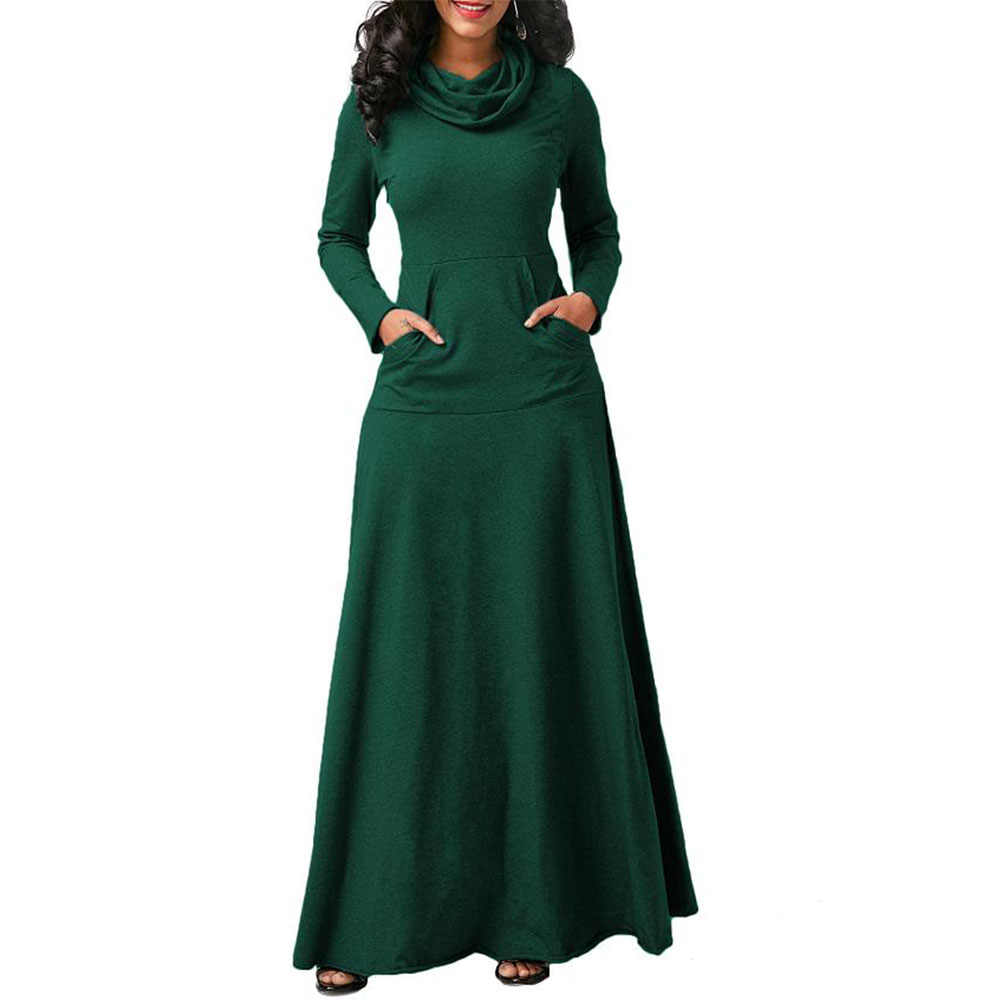 Wipalo נשים חם שמלה עם כיס מזדמן מוצק ארוך שרוול בציר מקסי שמלת חלוק קשת צוואר ארוך אלגנטי שמלת Vestidos s-5XL