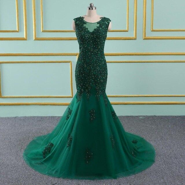 Luxury Green Mermaid Evening Dresses sleeveless Beading Crystal Sparkly Evening Gown Robe De Soiree 2019