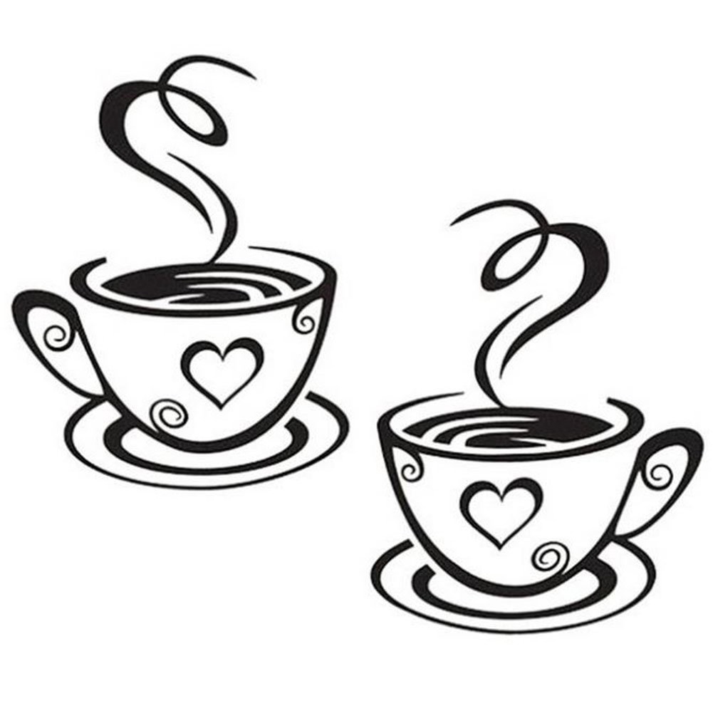 Black Coffee Cups Wall Art Stickers PVC Coffee Sticker Decal Decoration For Kitchen Cafe Restaurant DIY