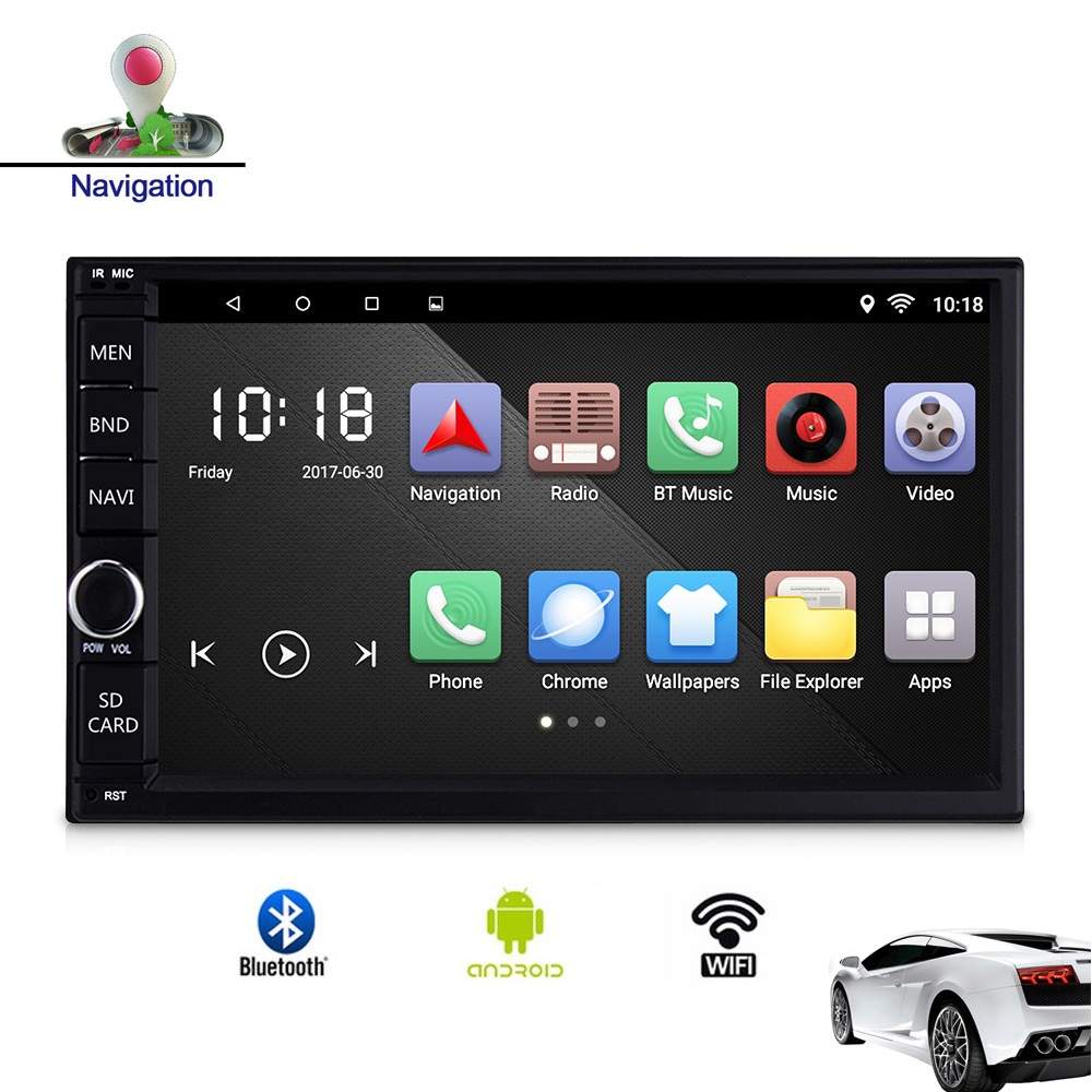 CT0012 Universal Android 9.0 Car Multimedia Player 7 inch TFT Touch Screen Mirror Link GPS Wifi Radio Bluetooth DVD MP5 Player image
