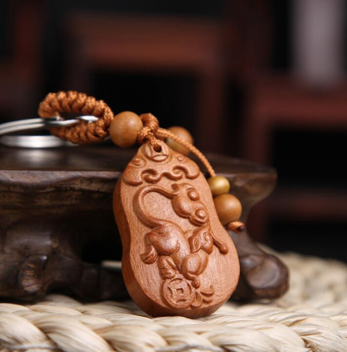 Chinese Peach Wood Carved Word Safe And Auspicious Word Twelve Zodiac Animals Mouse Exquisite Car Key Chain Pendant