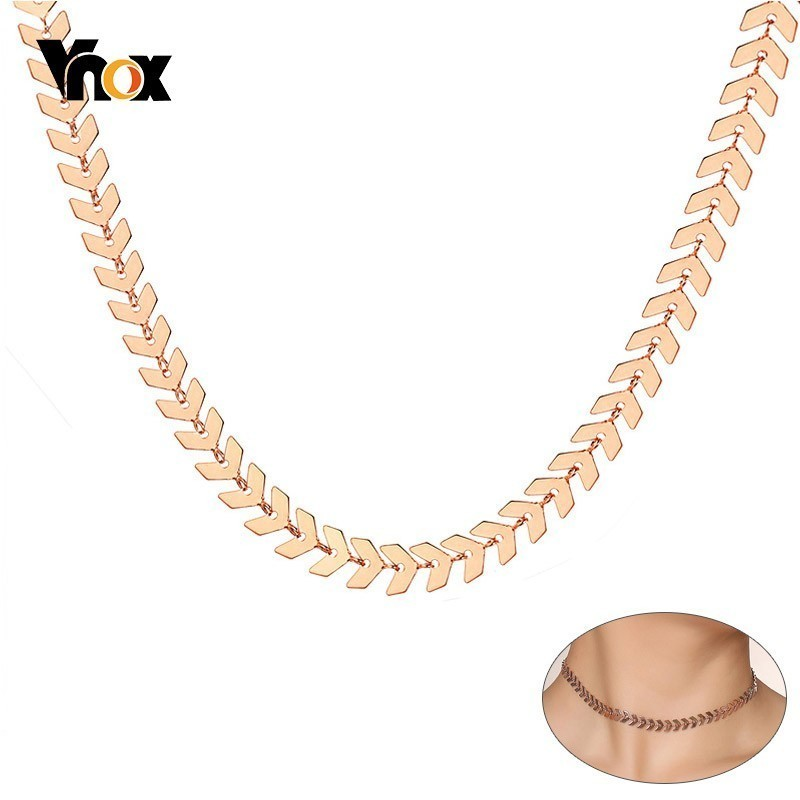 15df417c08fab Vnox Trendy Arrow Shaped Choker Necklaces for Women 585 Rose Gold Tone  Stainless Steel Ishikawa Diagram Link Chain 28cm/38cm