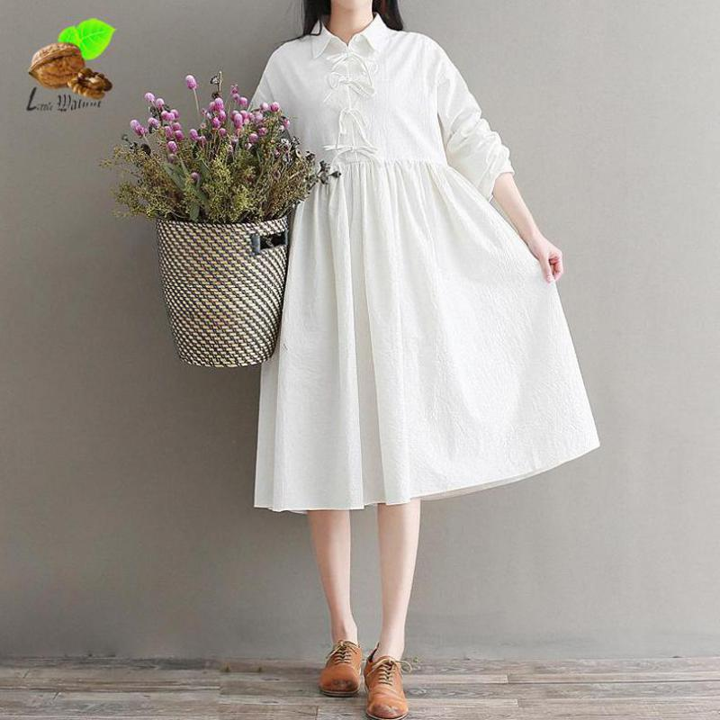 Women Spring Casual Loose A line Solid Color Bow Lantern Sleeve Cotton Linen Bowknot Dresses Mori Small Fresh Lolita White Dress