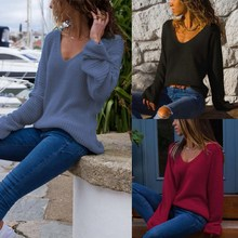 2019 Women Knitted Sweater Casual Full Sleeve Top Pull Solid Jersey Mujer