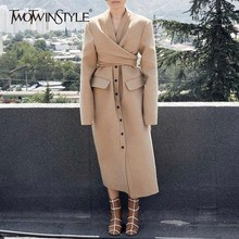 TWOTWINSTYLE Autumn Winter Women's Wool Coats V Neck Long Sleeve High Waist Bandage Coat Female Fashion Casual Clothes New