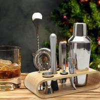 12 Pieces Cocktail Shaker 750ml / 550ml /350 Jigger Mixing Spoon Tong Bar Waiter Storage Tools Wooden Stand 2019 New Arrival
