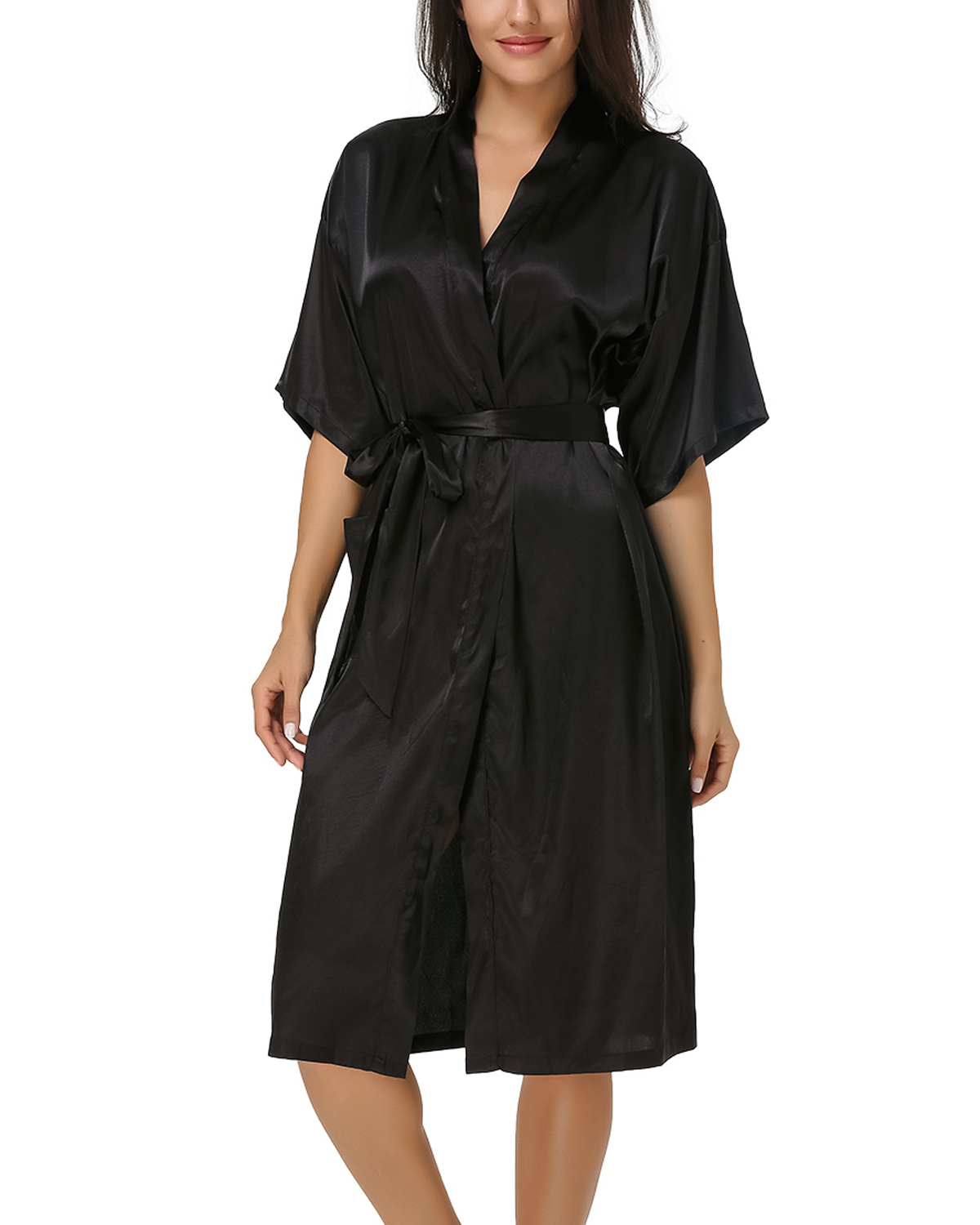 Summer 2019 Women Silk   Sleepshirts   Casual Loose Sexy V-Neck Half Sleeve Mid-Calf Pockets   Nightgowns   Solid Belt Lounge Plus Size