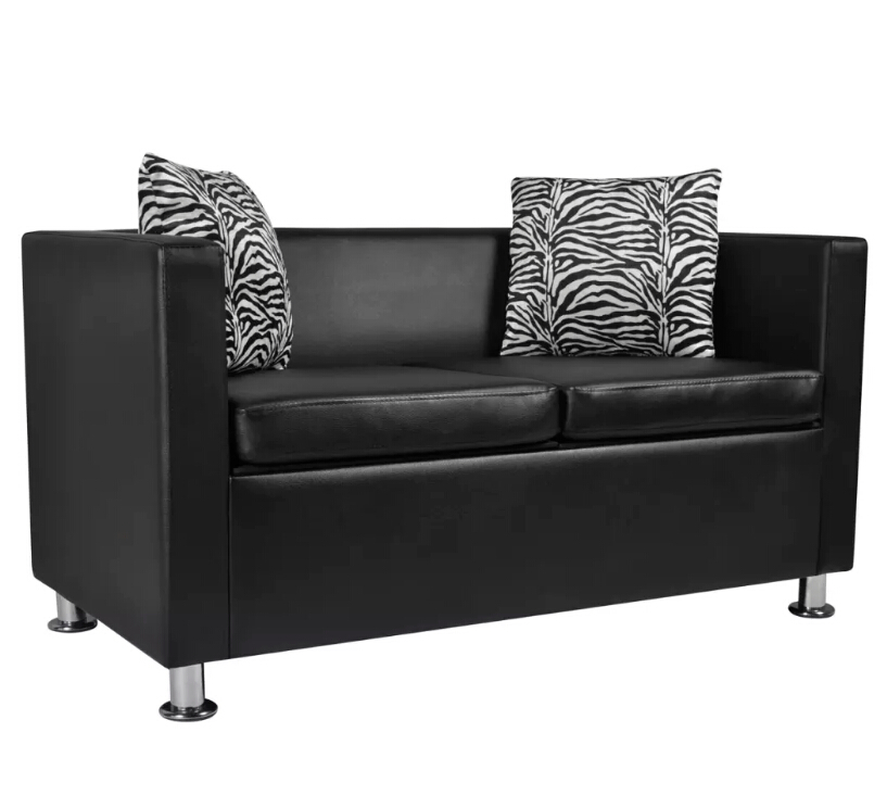 VidaXL High Quality 2-Seater Synthetic Leather Black Sofa Comfortable Living Room Sofas For Family image