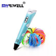 Myriwell 2nd 3d pen Christmas gift 3D Drawing Pen With 3 Color total 9M Filaments For Children Printing Drawing Best kids pens(China)