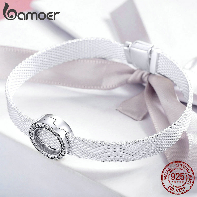 BAMOER Hot Sale Authentic 925 Sterling Silver Clear Zircon Round Circle Beads Charm fit Women Bracelets BAMOER Hot Sale Authentic 925 Sterling Silver Clear Zircon Round Circle Beads Charm fit Women Bracelets DIY Jewelry SCX101