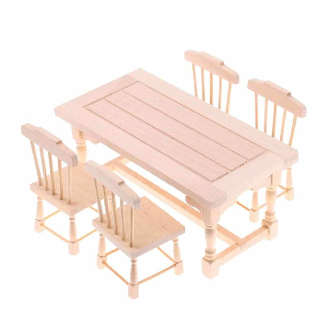 Magnificent 1 12 Scale Dining Room Dollhouse Furniture Unpainted Wooden Machost Co Dining Chair Design Ideas Machostcouk