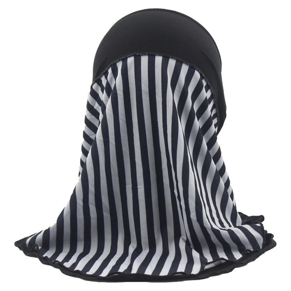 Image 3 - Детский мусульманский хиджаб для девочек, шарф в арабском стиле,  шали в полоску, двухслойный, приблизительно 45 смmuslim kids  hijablayerhijab pattern