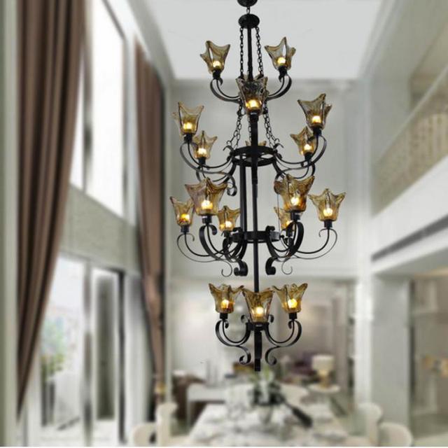 Hotel retro rustic iron Chandelier led coffee Bar lighting foyer vintage glass shade Chandeliers lamp villa E27 led lamparas