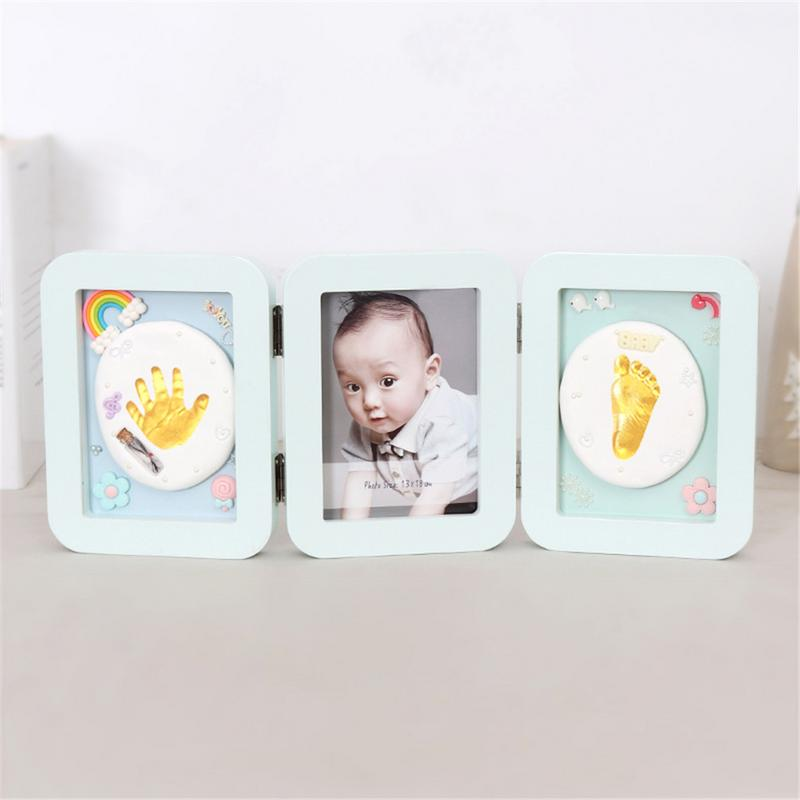 Baby Souvenir Hand And Foot Print  Clay Cast Kit Folding Commemorative Photo Frame Baby Hand And Foot Print  Memorial