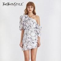 TWOTWINSTYLE Off Shoulder Print Women Dress Puff Sleeve High Waist Asymmetrical Mini Dresses Female Fashion 2019 Summer New