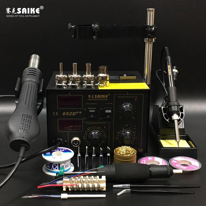 SAIKE 852D + + 2 dans 1 SMD Station De Reprise à Chaud pistolet à air matériel De soudure De matériel De soudure 220 V 110 V