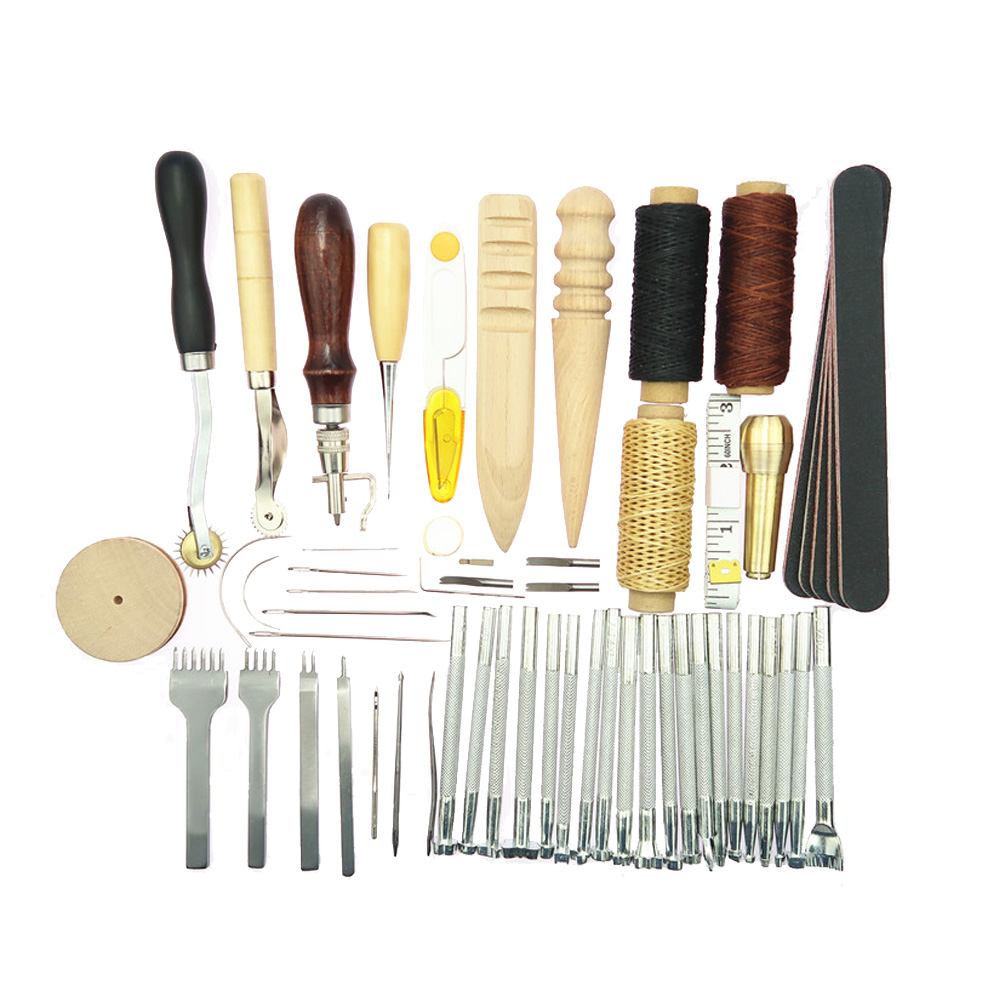 Leathercraft Tools 59pcs Kit Punch Stitching Sewing Leather Tools DIY Stamp Hand Gift Home Handwork Accessories
