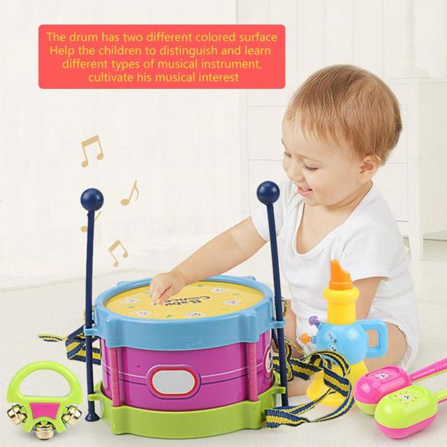 5Pcs Children Drum Trumpet Toy Music Percussion Instrument Band Kit Early Learning Educational Toy