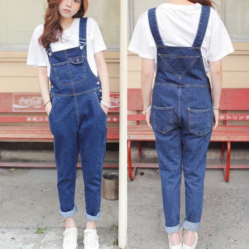 New Autumn Women Blue Long Denim   Jumpsuit   Solid Casual Pocket Jeans Romper Fashion Female long Overalls