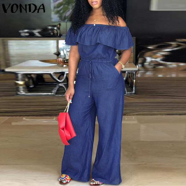 VONDA Women Rompers Jumpsuit 2018 Summer Overalls Casual Slash Neck Off Shoulder Ruffles Denim Playsuits Plus Size Wide Leg Pant 1