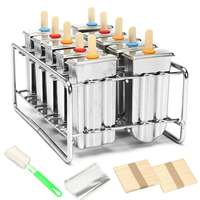 10 Molds Stainless Steel Reusable Ice Cream Making Mould Popsicle Mold DIY Ice Cream Maker Molding Machine+100Pcs Wood Stick