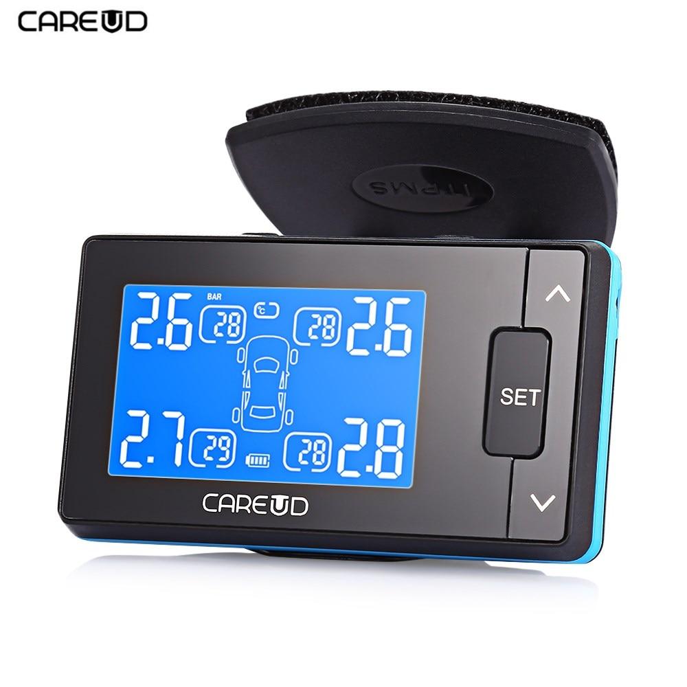 CAREUD U902 écran LCD TPMS 433.92 MHz DC 12 V système de surveillance de la pression des pneus de voiture avec capteur externe/interne 4 Tpms