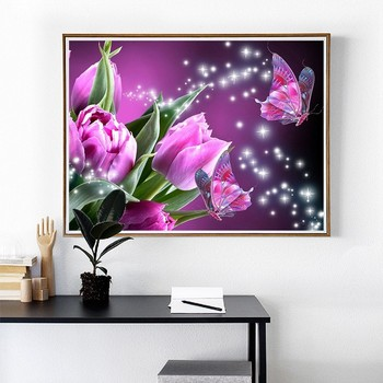 Huacan DIY Diamond Painting Cross Stitch Diamond Embroidery Flower Full Square Rhinestone Mosaic Unfinished Home
