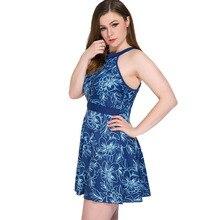 2019 Large Size Swimwear Plus Size Backless One-Piece Swimsuit Big Size Beach Dress Women Flower Line Print Skirt недорого