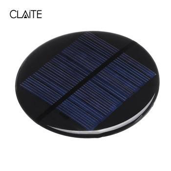 CLAITE Solar Power 6V 2W 0.35A 80MM DIY Mini Polycrystalline Silicon Solar Cell Module Circle Round Solar Panel Epoxy Board 3