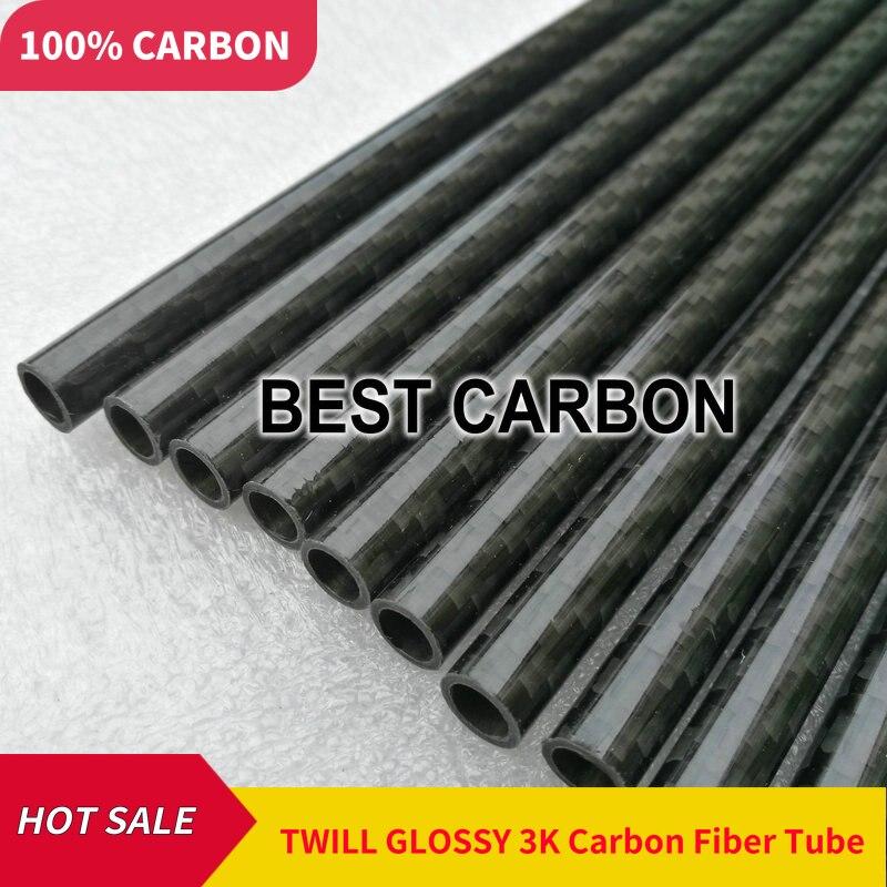 Blue-Black Carbon Fiber Tubing Gloss 25mm x 23mm x 500mm 3K- Plain Weave