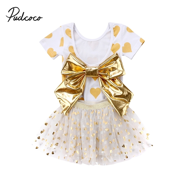 3e84b8ecb Summer Newborn Baby Girls Clothes Short Sleeve Heart Print Backless Bowknot  Romper Top+Tulle Tutu Skirts Dress 2Pcs Princess Set