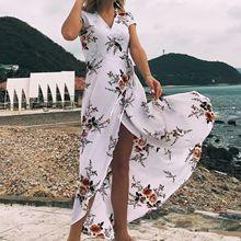 9bbb12dcc 2018 الأمازون انفجار نماذج النساء الخامس الرقبة المطبوعة الشيفون مثير الشق  شاطئ منتجع اللباس(China