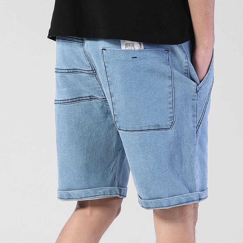 New Men/'s Stretch Denim Shorts Elastic Waist Loose Short Jeans Plus Size M-7XL