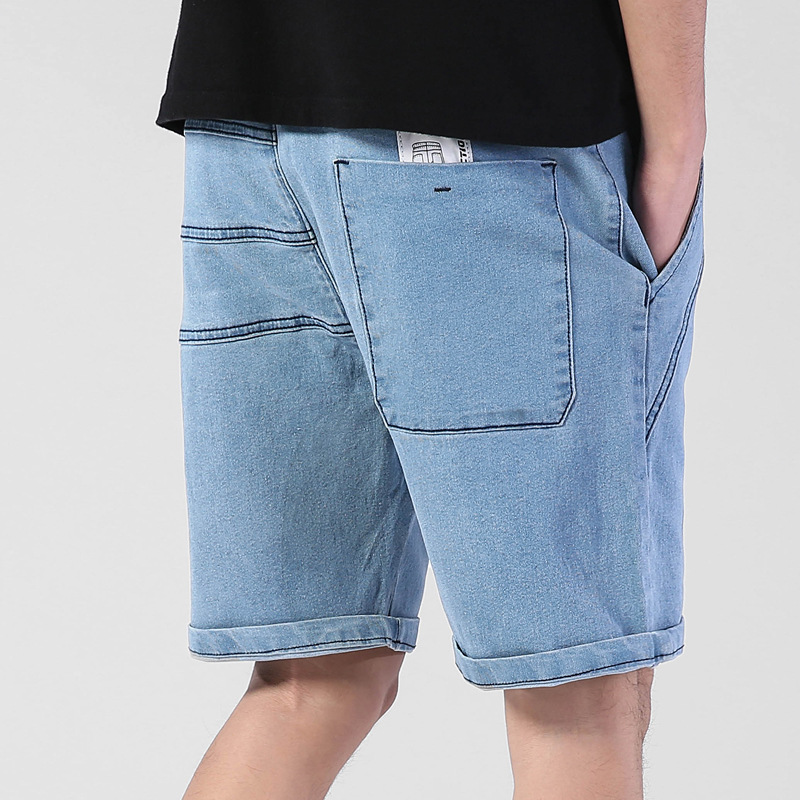 Summer Thin Elastic Waist Band Denim Shorts Mens Loose Plus Size Big 4XL 5XL 6XL Large Size Shorts Casual Fat Male Jeans Bermuda