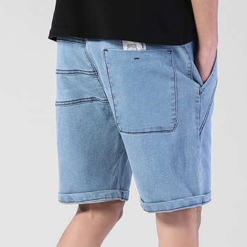 Summer thin Elastic Waist band Denim Shorts Mens Loose Plus Size Big Large Size Shorts Casual Fat Male Jeans Bermuda large waist mens cargo shorts plus size bermuda jeans shorts cotton men summer shorts breeches denim shorts male big size 46