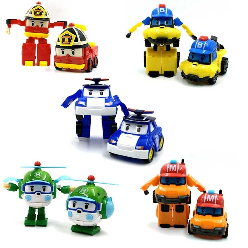 6 Styles Korean Kid Toys Robocar Poli Transformation Robot Poli Amber Roy Car Toys Action Figure Toys For Children Best Gifts