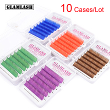GLAMLASH 10 Cases/Lot Korean Pbt Brown Purple Blue Green Red Color Eyelash Extension Individual Faux Mink False Lahses Cilios