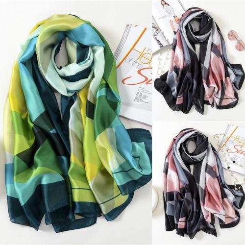 Womens Print Satin-Silk Rectangle   Scarf     Wrap   Lady Shawl Beach   Scarves   Stole