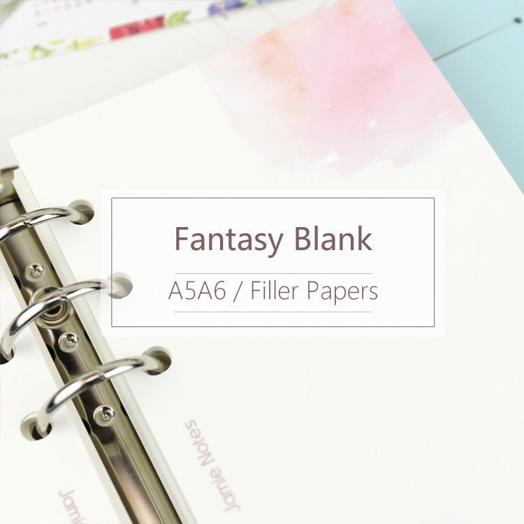 MyPretties Fantasy Blank Refill Papers A5 A6 Filler Papers For 6 Hole Binder Organizer Notebook Papers 40 Sheets For Planner