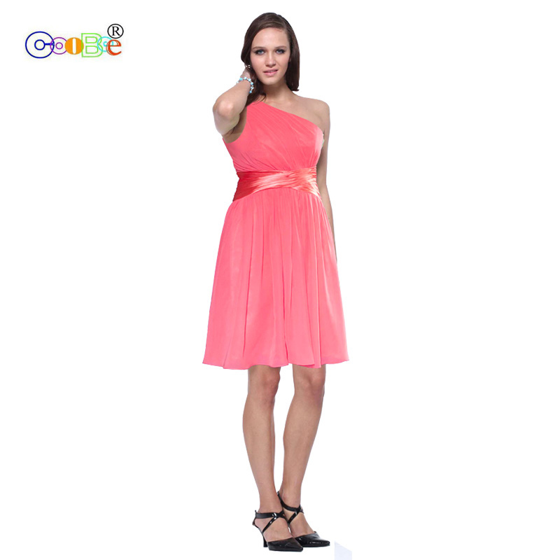 Coobee Cheap Short   Bridesmaid     Dress   2019 Fancy One Shoulder Pleat A-line Scoop Prom Party Campus Chiffon   Dress   10 Colors CO08098