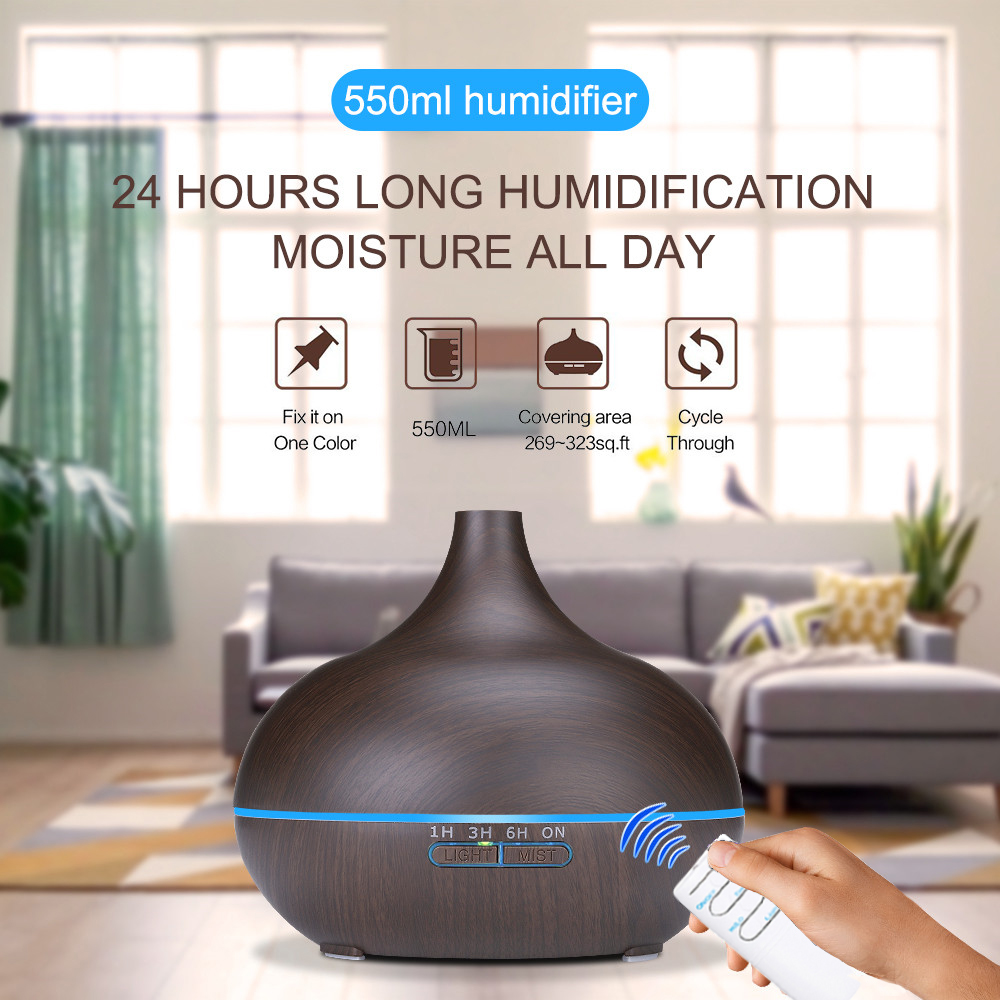 550ml Ultrasonic Humidifier Oil Diffuser with Remote Control Air Aroma Humidifier Timing Function LED Light for Office Bedroom550ml Ultrasonic Humidifier Oil Diffuser with Remote Control Air Aroma Humidifier Timing Function LED Light for Office Bedroom