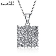 DreamCarnival 1989 Small Square Pendant Thin Chain White Zirconia Paved setting 925 Sterling Silver Necklace for Women SZ05685R(China)