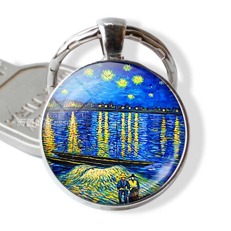 Van gogh arte óleo chaveiro moda masculina prata vidro convexo chaveiro estrelado noite jóias girassol moda pingente presente