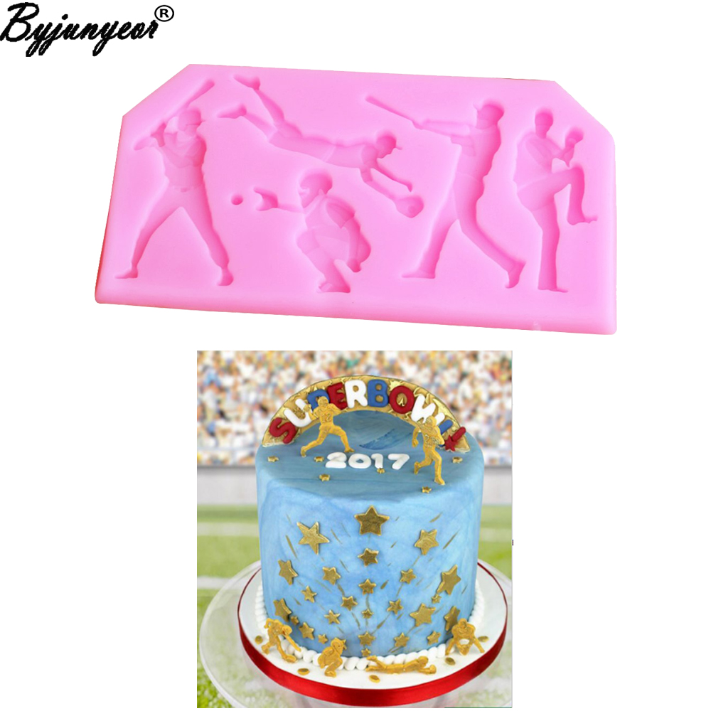 M2064 Ball Game Shaped Silicone Mold Decorative Ball Sports Games Themed Mold DIY Chocolate Baking Tools For Cake Decorating