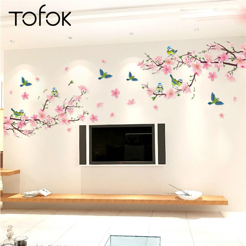 Us 3 08 20 Off Tofok Diy Flower Wall Stickers Art Decor Decals Graceful Peach Blossom Romantic Living Room Bedroom Decor Kids Room Wall Mural In