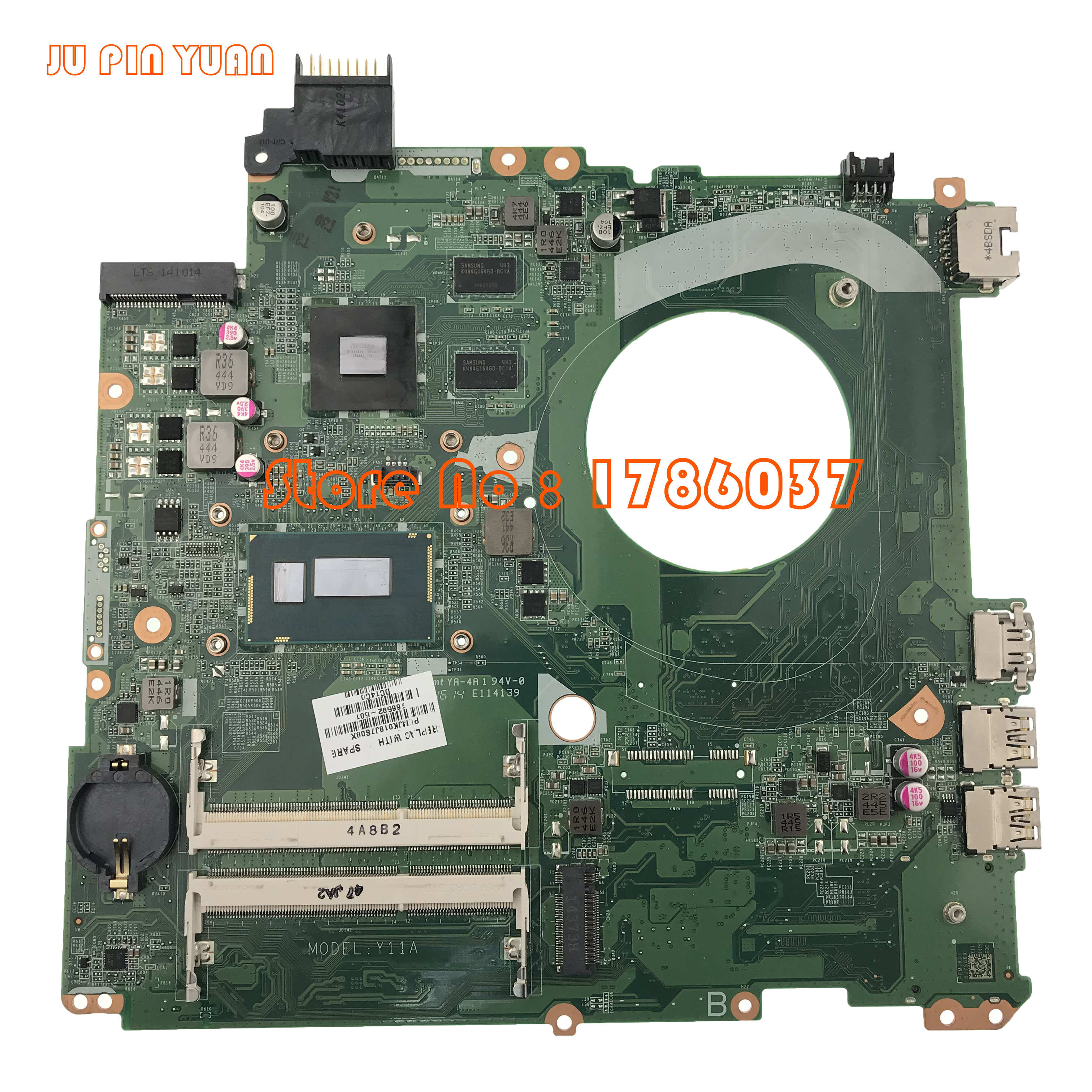 JU PIN YUANS 766592-001 766592-501 766592-601 Pour HP 15T-K Ordinateur Portable Carte Mère avec i7-4510u DAY11AMB6E0 entièrement Testé