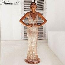 NATTEMAID Riflettente Del Partito Vestito di Paillette Delle Donne Maxi  Vestito Backless Sexy Elegante Scollo A V c7da814d778