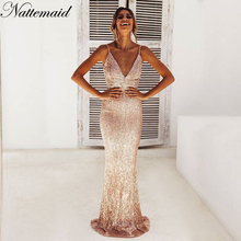 NATTEMAID Reflective Party Sequin Women Backless Sexy Elegant Club Dress Vestidos